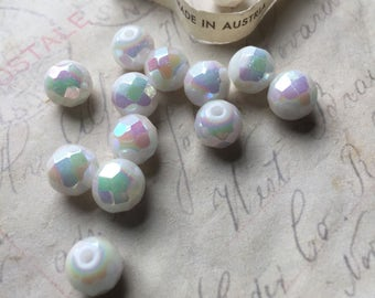 6mm set of 12 white glass with a bright aura borealis finish