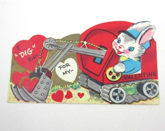 Vintage Children's Novelty Valentine Greeting Card with Cute Bunny Rabbit in Digging Truck