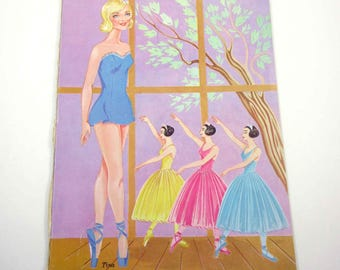 Vintage Paper Doll Book for Children Featuring Ballerinas Ballet