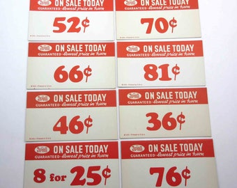 Vintage Large Rexall Drug Store Pricing Tags in Red Set of 8 Lot C