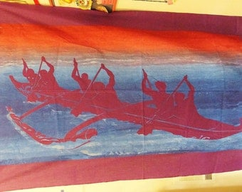 Fabric Boating Textile Poster Wall Hanging Canoeing Art Kayaking Art Polynesian Boat Textile Hanging Purple Blue Red