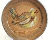 Stoneware Pottery Spoon Rest OOAK Bird Blue Green Brown Yellow #271