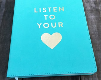 Faux Turquoise Leather Hardbound Blank Journal