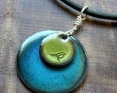 Bird Jewelry, Olive Green, Water Blue Pendant, Copper Enamel Necklace, Hand Stamped Stacked Circle Jewelry, Prairie Style