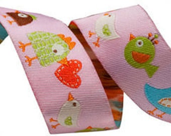 7/8'' Happy Birds Woven Jacquard Ribbon - Per Yard