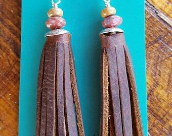 Leather Tassel Earrings - Jasper - Sterling Silver -Rustic Earrings - Cowgirl Jewelry - Western Jewelry - Boho