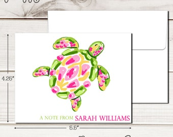 Personalized PREPPY TURTLE Note Cards - Set of 12 - Blank Inside with Envelopes