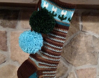 Old Fashioned Hand Knit Christmas Stocking Multi tone Brown Turquoise Blue  Flower detail Santa's Stocking Works