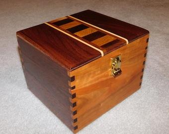 Oversized Large Recipe/Card Box (5X7 cards) - Cherry and Walnut