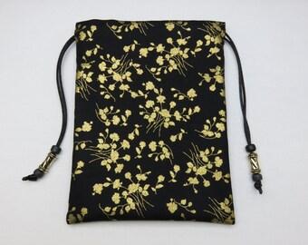 Black and Gold Black Silk Lined Tarot Bag, Tarot Pouch, Handmade 5 x 7