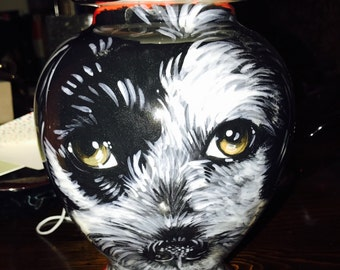Ceramic burial PET URN Custom Medium dog painting of your pet lead free,poodle terrier