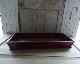 Primitive Wooden Cutlery Tray In Old Barn Red
