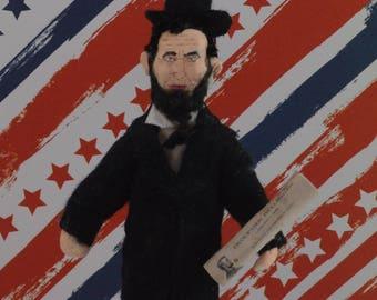 Abraham Lincoln-  Miniature Art-  American Presidents- Civil War Era- President Doll