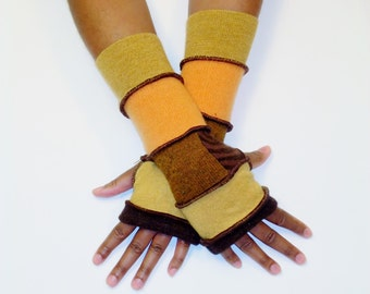 Fingerless Gloves, Armwarmers, Patchwork gloves (Brown/Mustard/Patched Ochre, Brown Tiger Stripe/Marigold/Yellow Ochre) by BrendaAbdullah