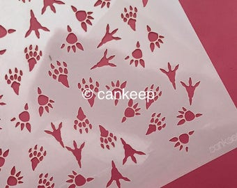 Cookie Stencil   Baby Dinosaur Footprints  Background  Boy Baby Shower 6u201dx6u201d