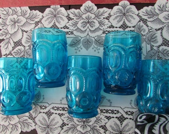 VINTAGE - Aqua Mid-Century glasses set of (5)