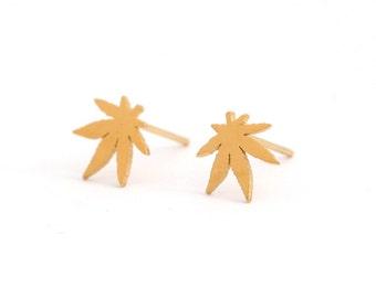 Leaf Stainless Steel Golden Earring Post Finding (ED 002)