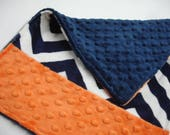Navy Chevron and Orange Double Sided Baby Burp Cloth 12 X 16 READY TO SHIP On Sale