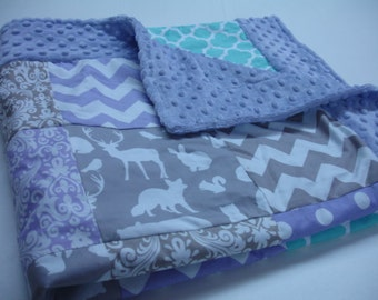 Gentle Woods Lavender Aqua Gray Minky Blanket with Border You Choose Size and Minky Color  MADE TO ORDER No Batting