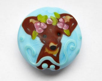 focal turquoise chihuahua dog lampwork handmade artisan pendant bead
