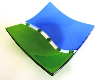 Fused Glass Bowl Blue Green Curved Yin Yang Dots Studio Art Glass Square Shallow Bowl Abstract Handmade Gift DawnofCreation