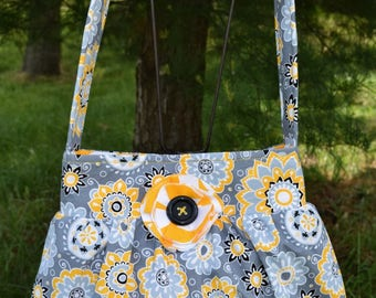 """The """"BETH""""  Bag  in Grey / Yellow / Black / White Floral  print fabric * SINGLE STRAP"""
