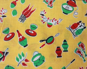 "1950s novelty fabric / kitsch yellow kitchen textile / 50s cotton printed fabric / 20"" x 45"""
