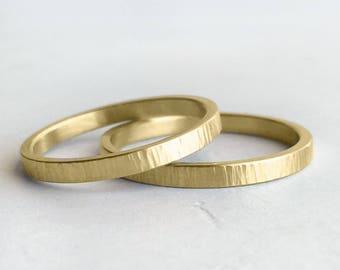 Tree Bark Hammer Texture Gold Wedding Band Set | Hers and Hers 2mm hammer texture wedding ring set | Rustic wedding bands 14k 18k gold rings