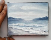 """Small Oil Painting Beach Overcast Day 4"""" x 5"""" READY to SHIP"""