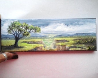 """Oil Painting Tree overlooking Cliffs 3"""" x 9"""" READY to SHIP"""