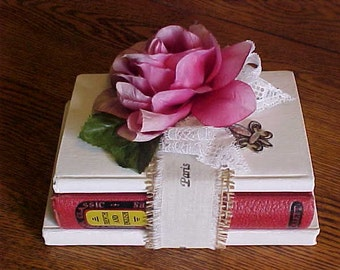 ANTIQUE Book-Bundle~~3 Books~1896 1897 & 1922~Country French~Farm House Decor~Shabby Chic~Book Stack Art~Coffee Table Art~Photo Prop~Display
