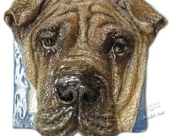 Shar-pei Meat Mouth Ceramic Portrait Sculpture 3D Dog Art Tile IN STOCK ready to ship  Sondra Alexander