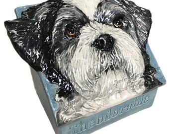 Custom Pet Treat Box - Pet Cremation Urn Ceramic Sculpture 3D Dog Art FUNCTIONAL ART by Sondra Alexander made to order