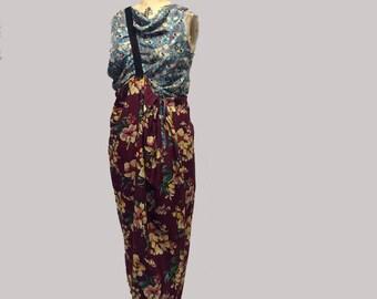 Handmade Mixed Floral Silk Maxi dress