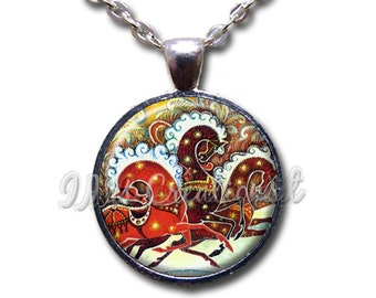 Vintage Russian Style Sleigh Reindeer Christmas Glass Dome Pendant or with Chain Link Necklace  HD177