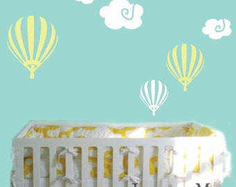 ON SALE Hot Air Balloon Wall Decal with Clouds - Whimsical Kid's Bedroom Nursery - Balloon and Clouds Vinyl Wall Art Sticker - CN102