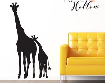 Giraffe Wall Decal Childrens Jungle Safari Sticker Room Decor Wall Sticker Mom and Baby Giraffe Vinyl Decal- CA101