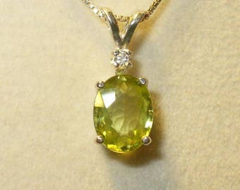 Sphene Titanite Pendant Necklace in Sterling - Genuine Natural Gemstone