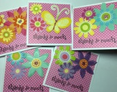 Thanks So Much Floral Set of Five Gift Cards Lunchbox Love Notes Polka Dots Bright Pink Spring Hello Hi Handmade Flowers Friendship Friends