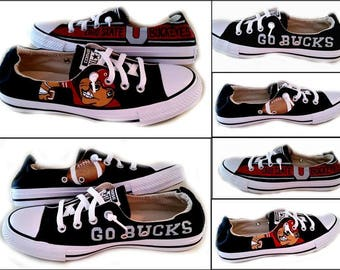 Ohio, Go Bucks, University of Ohio, Converse, Sports Fans, College Life, Football, Custom Painted, Shoreline or Chuck Taylor, Shoes Included
