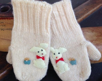 Vintage Tiny Knit Baby Mittens with Puppies