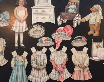 Vintage Lettie Lane Paper Dolls Outfits and Doll Teddy Bear Furniture 1910
