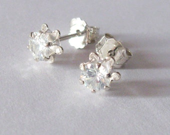 White Zircon Natural Gemstone Sterling Silver Post Earrings, Buttercup Setting, Clear Gemstone Studs