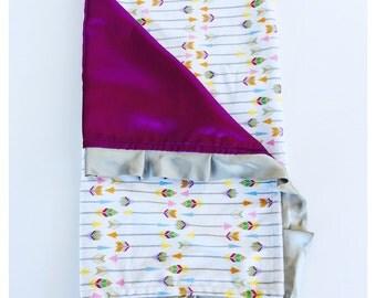 BABY BLANKET / Arrow minky print with satin and trim, Plum satin with silver trim, Baby nursery gift, Arrow minky baby nursery