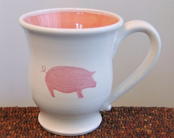 Pig Mug - Ceramic Stoneware Pottery Mug - Coffee Cup 14 oz. Handmade Mug