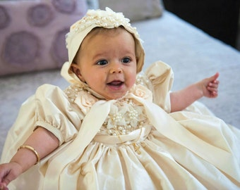 Sasha, Christening Gown and Hat, bib, slippers and personalization