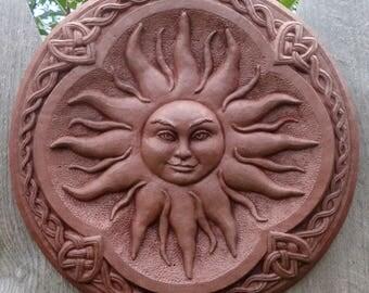 Celtic Sun Goddess  Garden Art Sculpture Terracotta Concrete Plaque