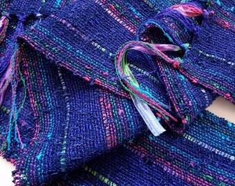 handwoven navy blue kaleidoscope lightweight scarf