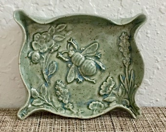 Ceramic Bee Dish - Honey Bee - Soap Dish or Trinket Dish - Handmade Pottery
