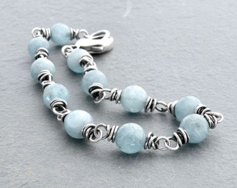 March Birthstone Aquamarine Gemstone Bracelet, Light Blue Beads, Wire Wrap, Sterling Silver Wire, Lobster Clasp #4755